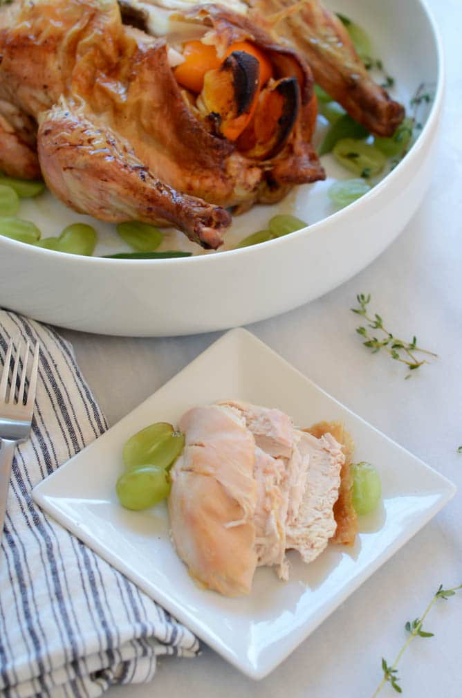 Champagne Roast Chicken with Grapes and Shallots | CaliGirl Cooking