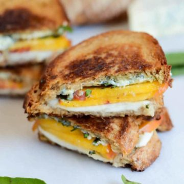 Honey, Peach & Basil Two-Cheese Grilled Cheese | CaliGirl Cooking