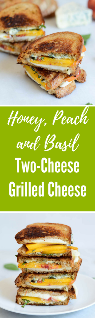 Honey, Peach and Basil Two-Cheese Grilled Cheese | CaliGirlCooking.com