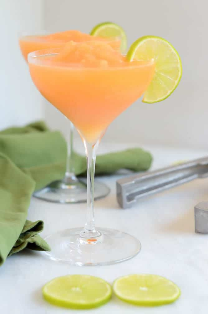 Frozen Cantaloupe White Wine Sangria | CaliGirl Cooking