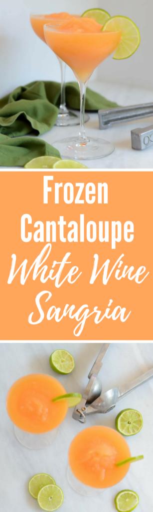 Frozen Cantaloupe White Wine Sangria | CaliGirlCooking.com