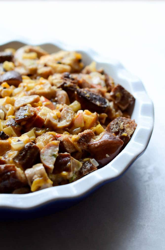 Savory Pretzel Bread Pudding with Cheddar, Apples and Sausage | CaliGirlCooking.com
