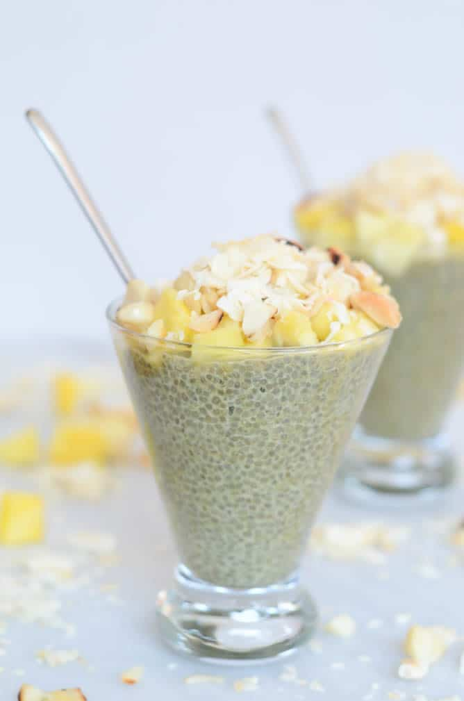Tropical Matcha Chia Pudding | CaliGirl Cooking