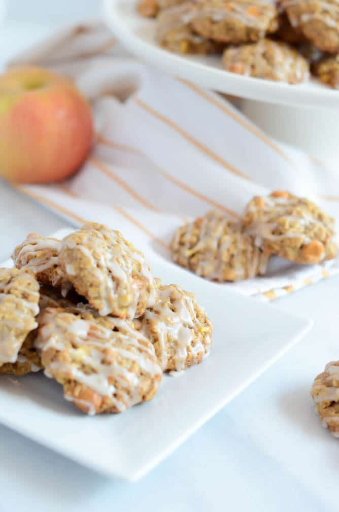 Butterscotch Apple Oatmeal Cookies with Bourbon Glaze | CaliGirlCooking.com