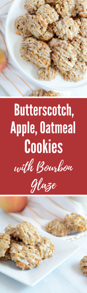 Butterscotch, Apple, Oatmeal Cookies with Bourbon Glaze | CaliGirlCooking.com