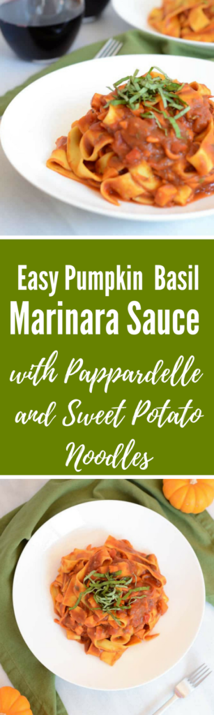 Easy Pumpkin Basil Marinara Sauce with Pappardelle and Sweet Potato Noodles | CaliGirlCooking.com