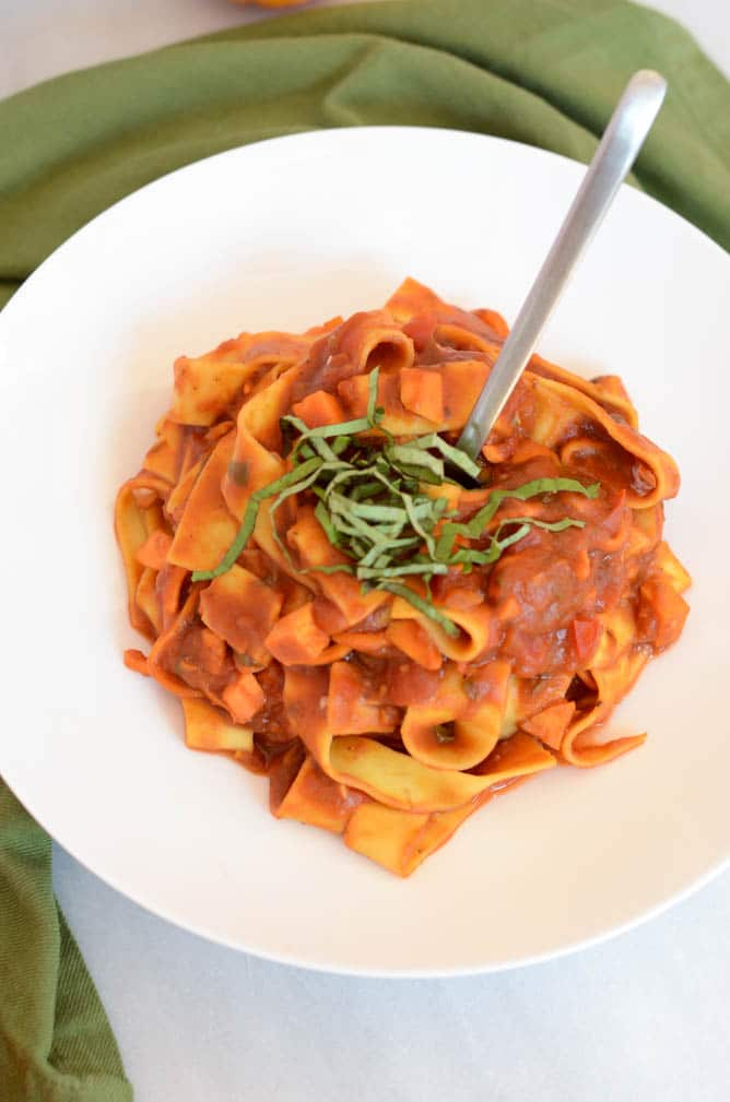 Easy Pumpkin Basil Marinara with Pappardelle and Sweet Potato Noodles | CaliGirlCooking.com