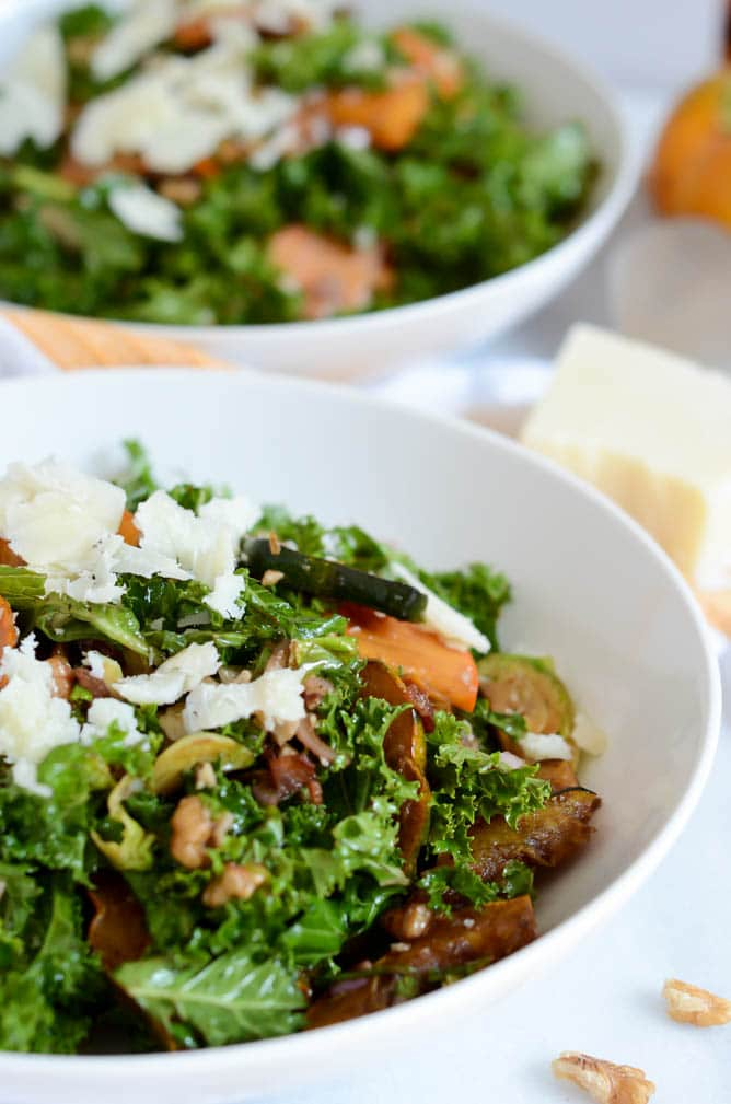 Fall Kale Salad with Easy Balsamic Vinaigrette | 22 Totally Achievable Thanksgiving Recipes on CaliGirlCooking.com