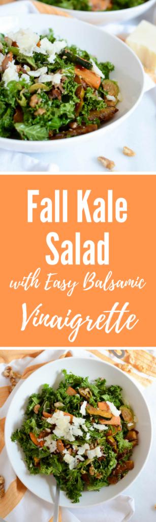 Fall Kale Salad with Easy Balsamic Vinaigrette   CaliGirlCooking.com