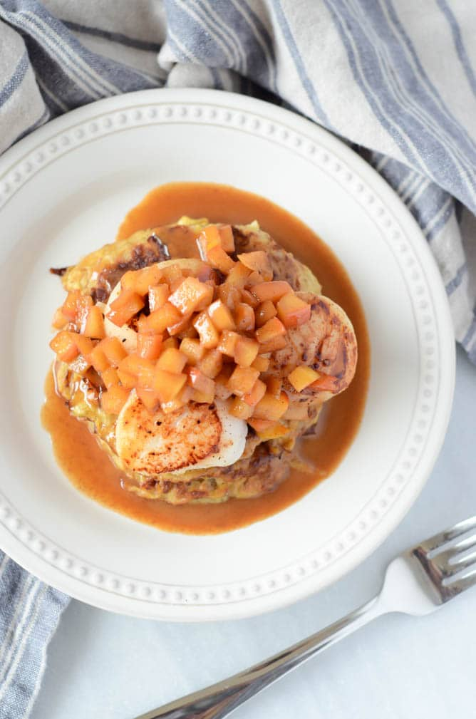 Spiced Spaghetti Squash Pancakes with Seared Scallops and Apple Brandy Sauce | CaliGirlCooking.com