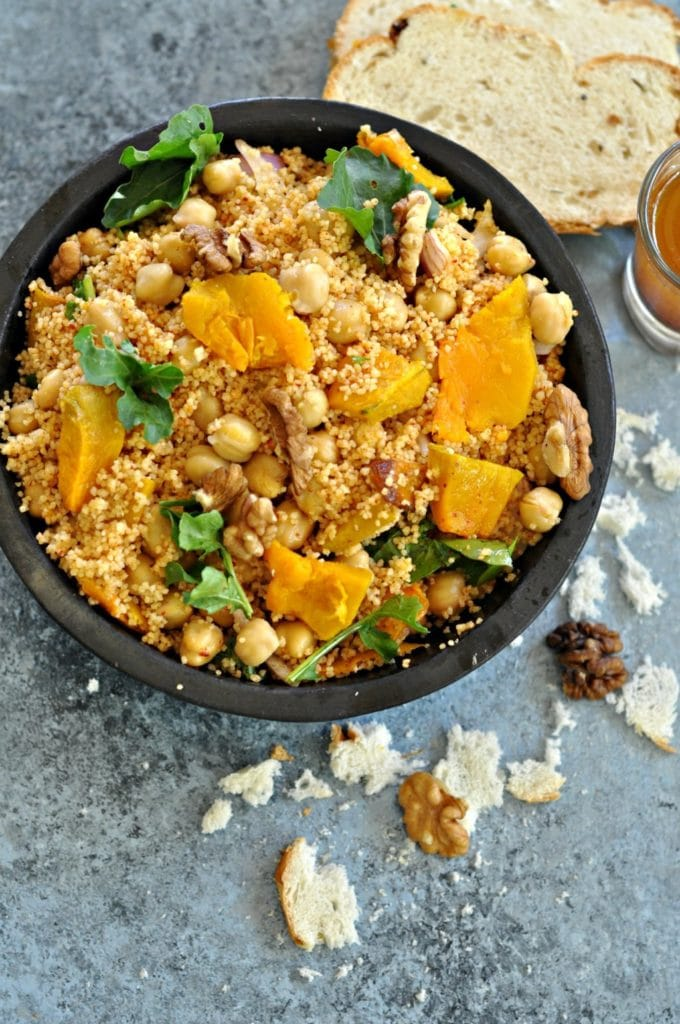 Pumpkin, Couscous and Chickpeas Salad by Sin-a-Mon Tales | 22 Quick & Easy Halloween Recipes at CaliGirlCooking.com
