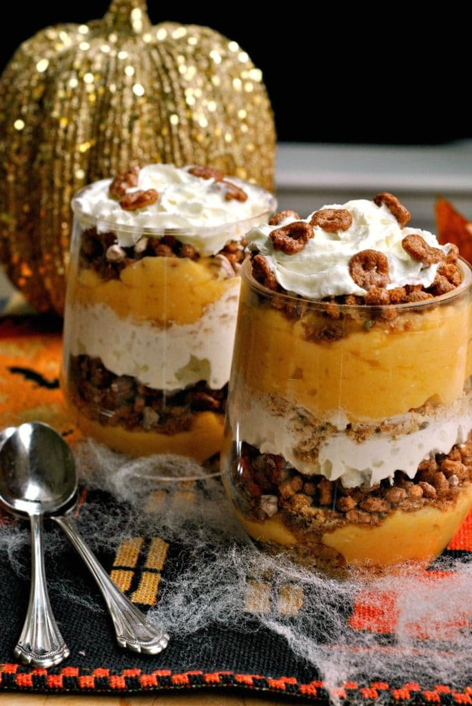 Pumpkin Pudding Trifles by Go Eat and Repeat | 22 Quick & Easy Halloween Recipes at CaliGirlCooking.com