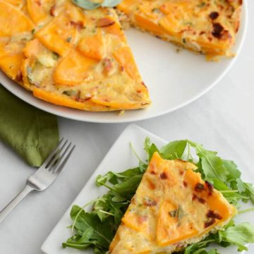 Butternut Squash, Bacon and Goat Cheese Spanish Tortilla | CaliGirlCooking.com