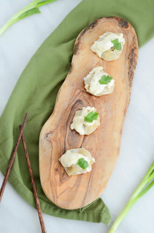 Crab and Pork Shumai with Bonito Bechamel | CaliGirlCooking.com