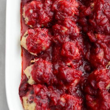 Turkey Cranberry Meatballs with Cranberry, Orange and Maple Glaze | CaliGirlCooking.com