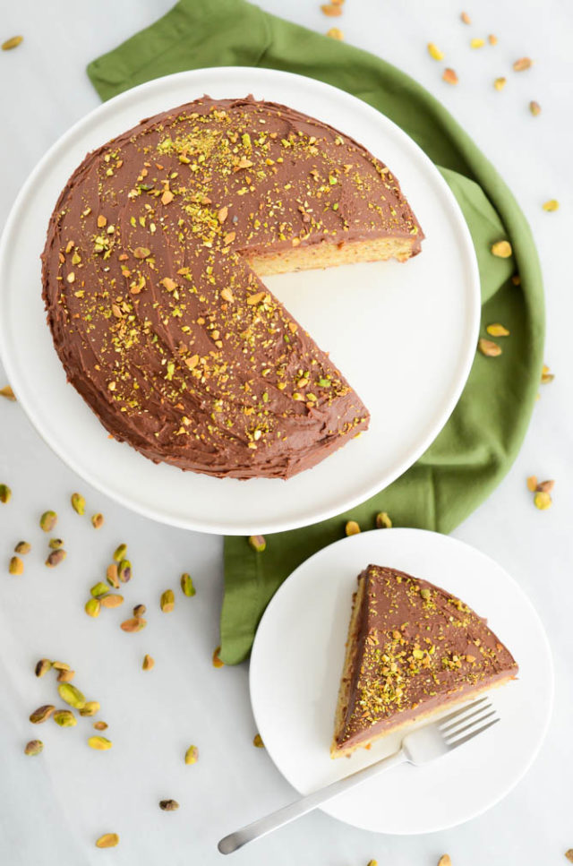 Pistachio Cake with Dark Chocolate Buttercream | CaliGirlCooking.com