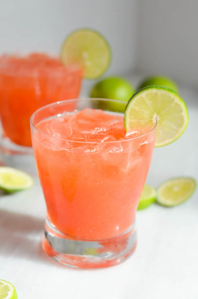 Smoky Pickled Strawberry Margaritas | CaliGirlCooking.com