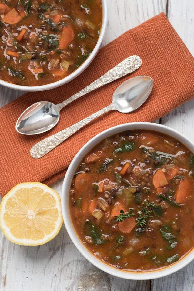 Easy Swiss Chard and Lentil Soup | 21 Recipes to Get Hygge With on CaliGirlCooking.com