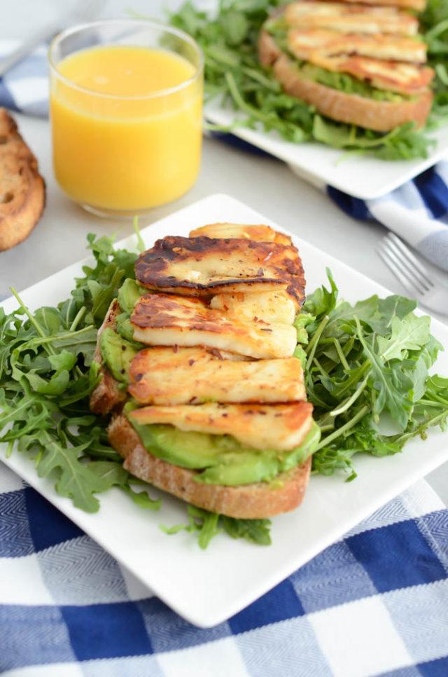 Avocado Toast with Grilled Halloumi and Honey | CaliGirlCooking.com