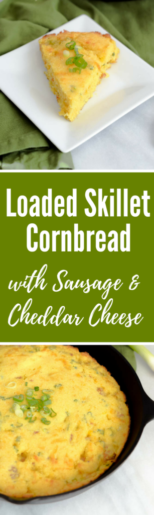 Loaded Skillet Cornbread with Sausage and Cheddar Cheese | CaliGirlCooking.com