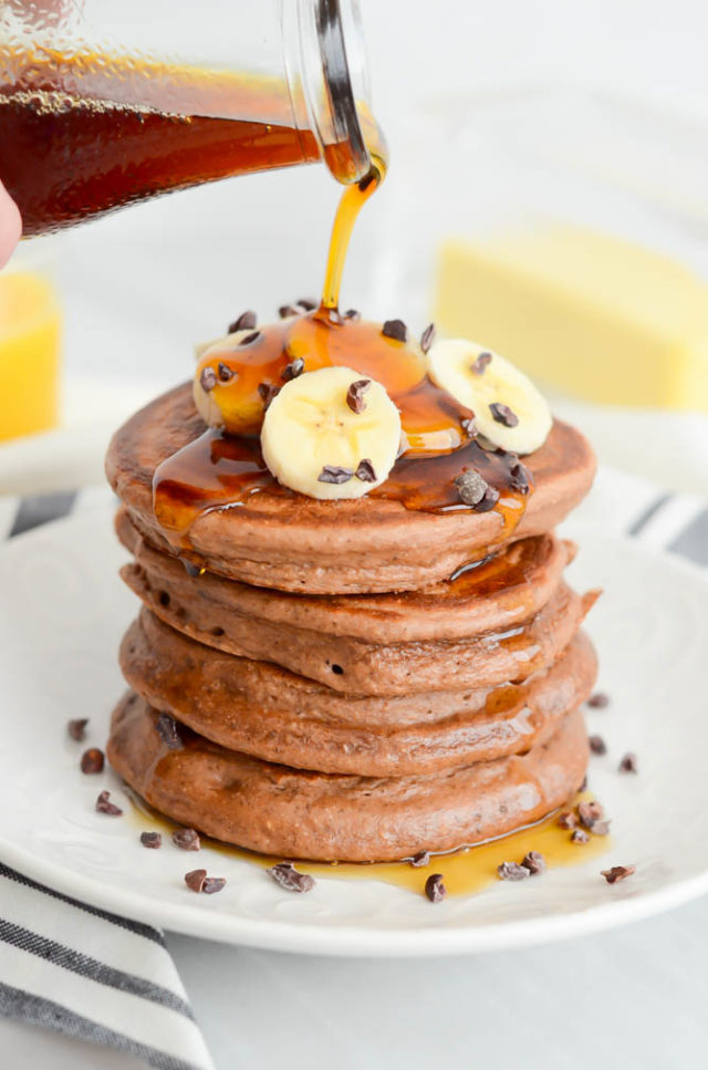 Maca Chia Cocoa Protein Pancakes | CaliGirlCooking.com
