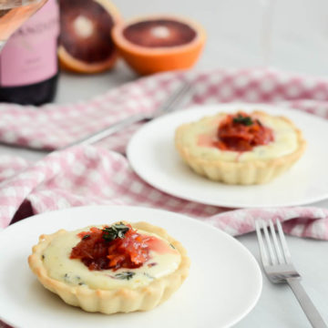 Savory Triple Cream Tartlets with Blood Orange Marmalade   A Valentine's Day Wine and Food Pairing Dinner for Two on CaliGirlCooking.com
