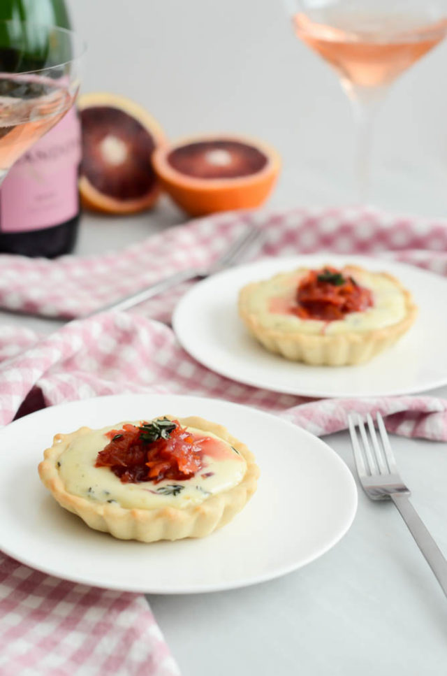 Savory Triple Cream Tartlets with Blood Orange Marmalade | A Valentine's Day Wine and Food Pairing Dinner for Two on CaliGirlCooking.com