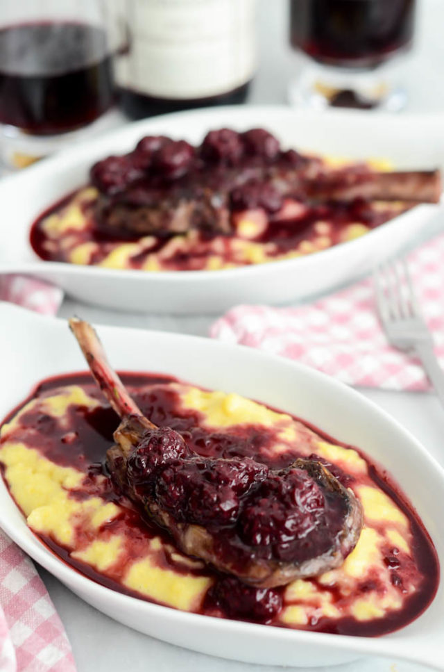 Herb-Crusted Lamb Lollipops with Blackberry Reduction Over Creamy Polenta | A Valentine's Day Wine and Food Pairing Dinner for Two on CaliGirlCooking.com
