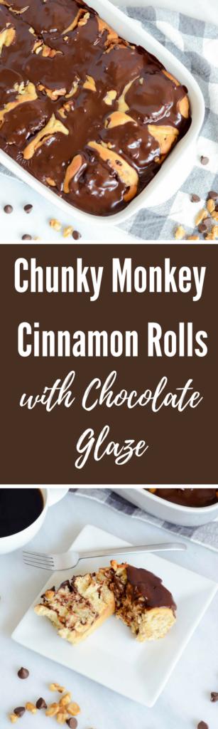 Chunky Monkey Cinnamon Rolls with Chocolate Glaze | CaliGirlCooking.com