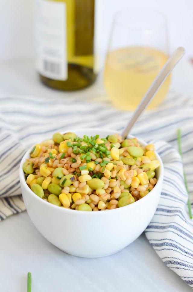 Fresh Corn, Leek and Edamame Grain Salad | CaliGirlCooking.com