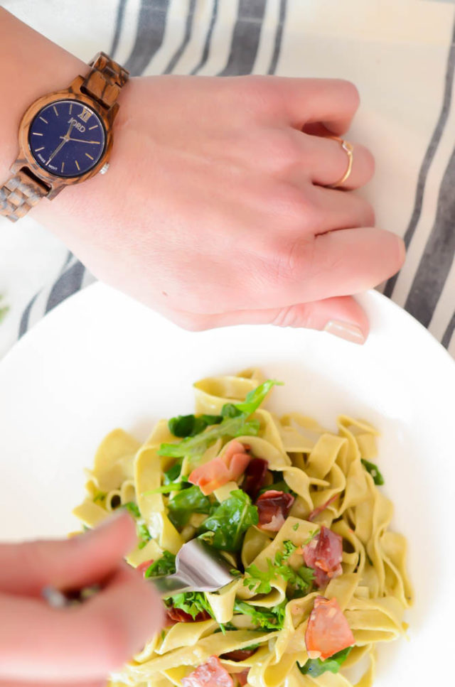 Homemade Matcha Pasta with Tangy Creme Fraiche and Crispy Prosciutto | A partnership with JORD Wood Watches on CaliGirlCooking.com