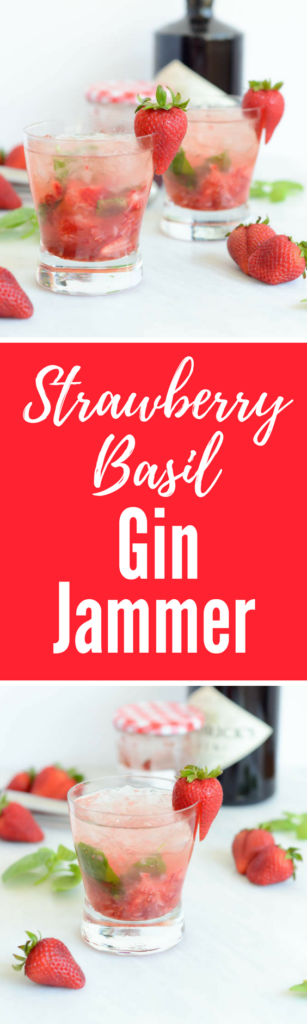 Strawberry Basil Gin Jammer | CaliGirlCooking.com