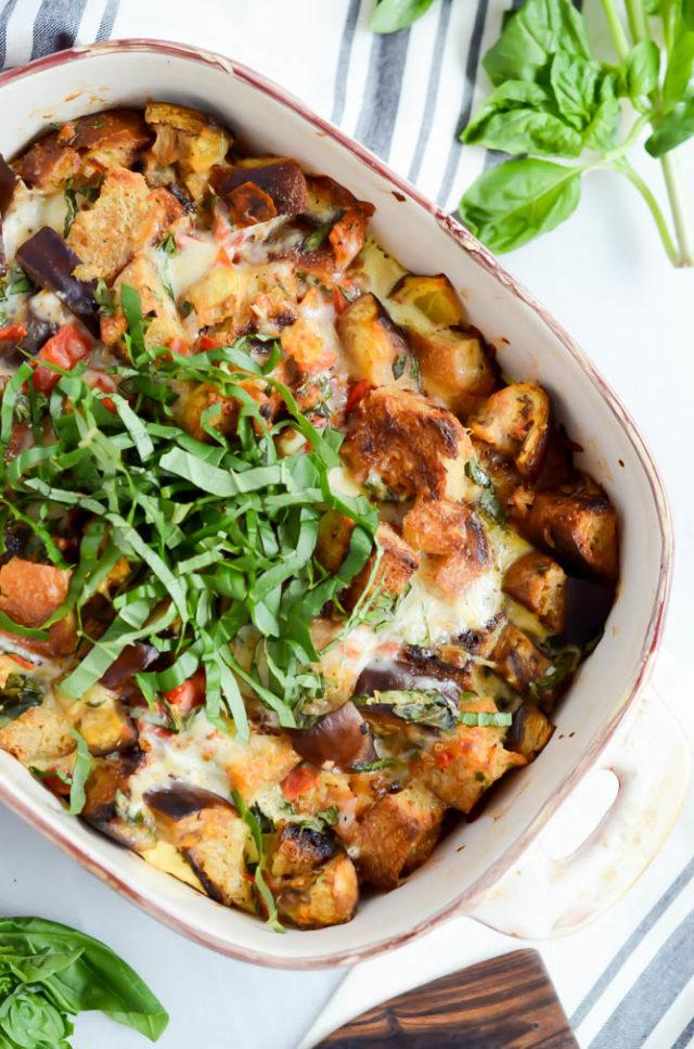 Eggplant Parmesan Bread Pudding | CaliGirlCooking.com