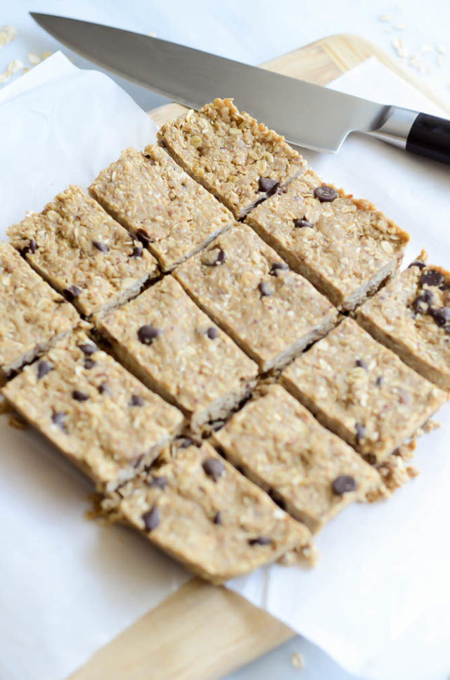 A freshly cut batch of Chocolate Chip Sunflower Seed Butter Protein Bars.
