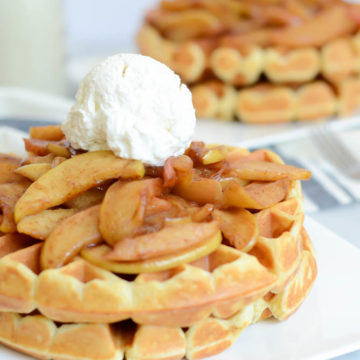 Candy Cap Waffles with Sauteed Maple Apples and Whipped Cream | CaliGirlCooking.com