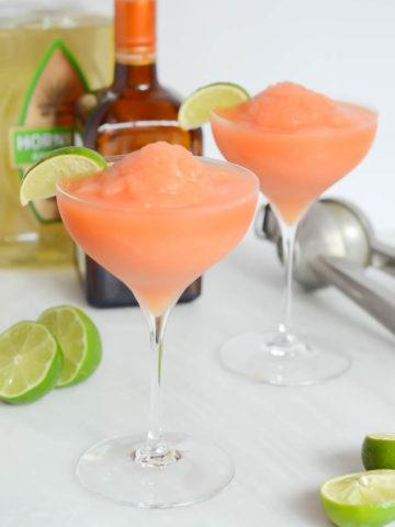 Frozen Watermelon Peach Margarita | CaliGirlCooking.com