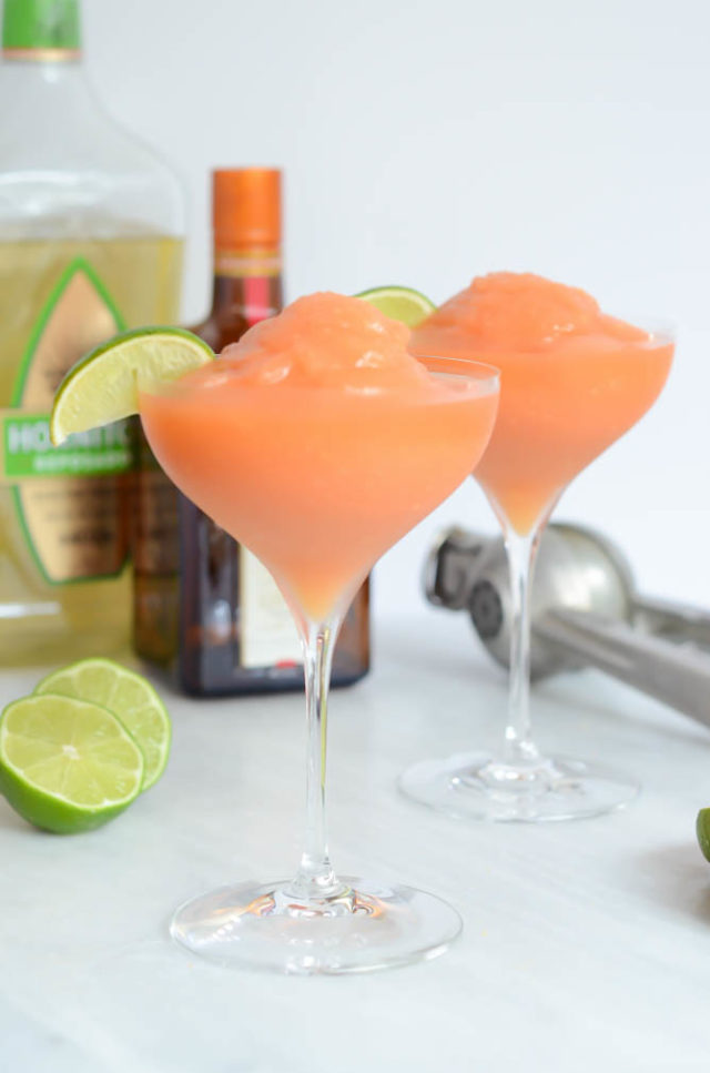 Frozen Watermelon Peach Margarita | CaliGirlCooking.com