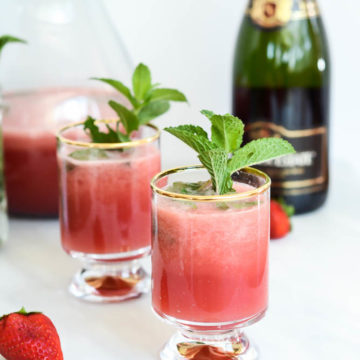 Minty Watermelon Strawberry Refresher | CaliGirlCooking.com - The perfect cocktail OR mocktail for late spring celebrations like Mother's Day and Memorial Day.