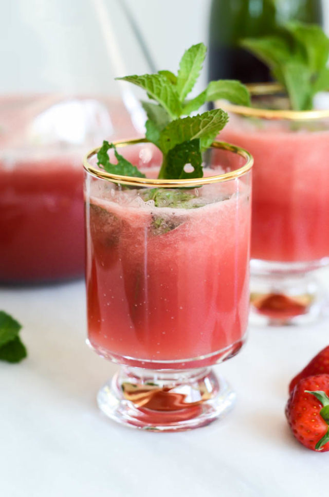 Minty Watermelon Strawberry Refresher | CaliGirlCooking.com - An icy glass of one of the most refreshing cocktails or mocktails you'll ever taste. Incredibly easy to make with all fresh ingredients. The perfect drink for Mother's Day!