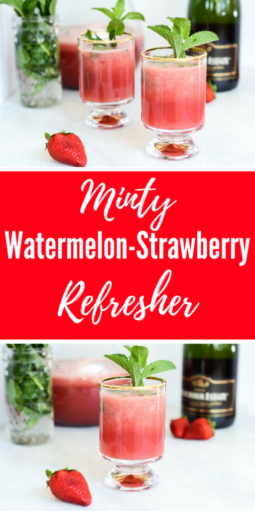 Minty Watermelon Strawberry Refresher | CaliGirlCooking.com