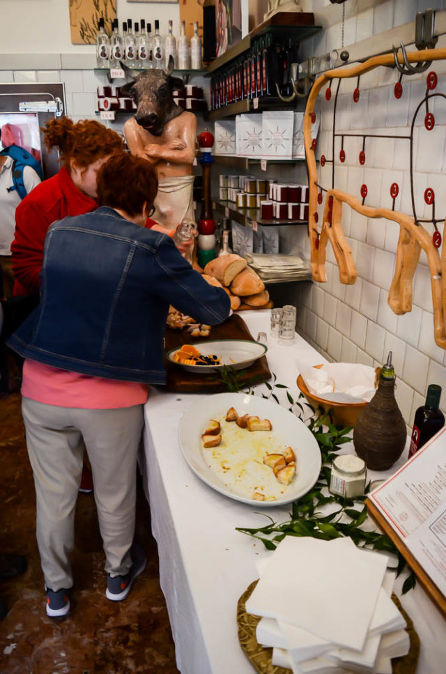 Help yourself to the samples at Antica Macelleria Cecchini in Panzano, Italy!