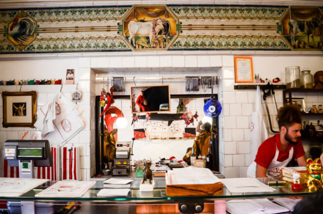 The butcher counter at Antica Macelleria Cecchini, Panzano, Italy.