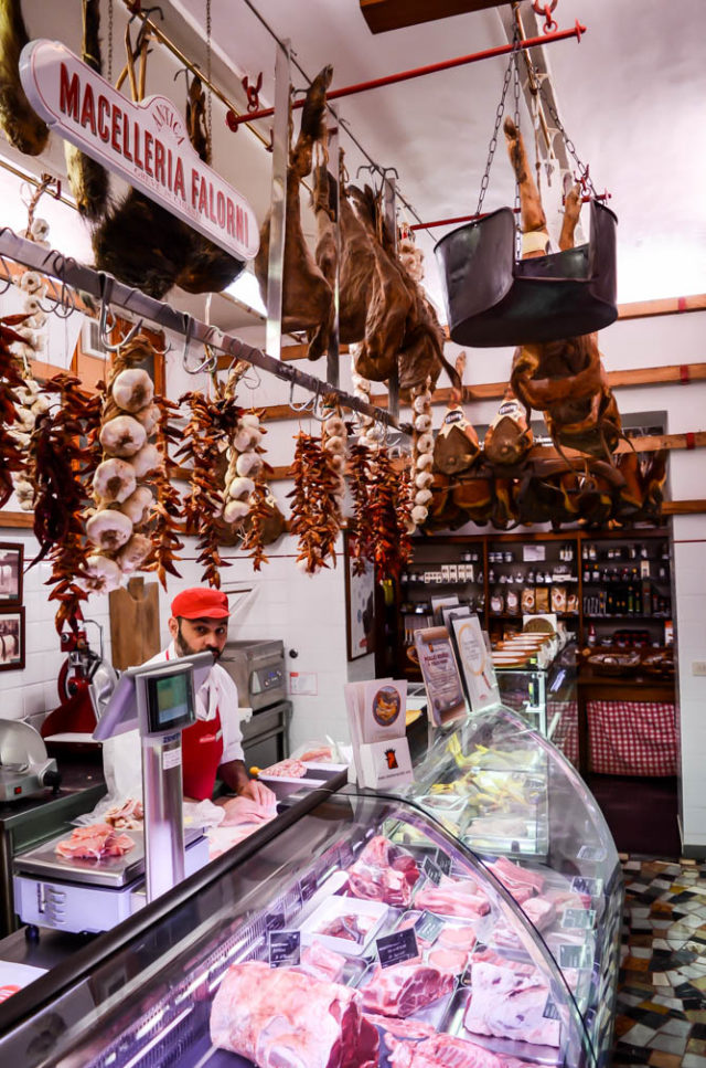 The butcher counter at Antica Macelleria Falorni, Greve in Chianti, Tuscany