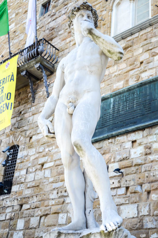 Copy of David located in the city streets of Florence.