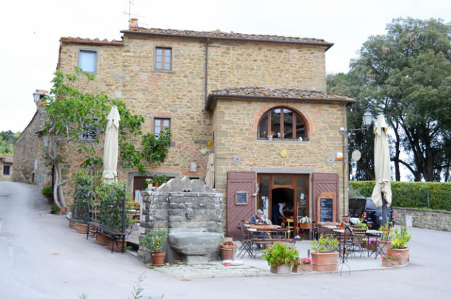 The quaint cafe at the entrance to town in Volpaia.