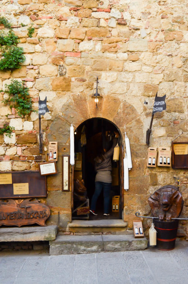 The outside of a salumeria in Montepulciano, Tuscany.