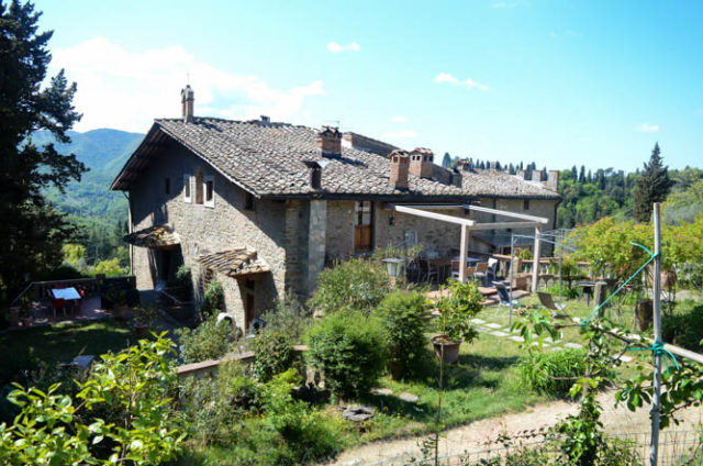 View of our apartment at the beautiful, historic Villa Fabbroni, looking over the Tuscan countryside.