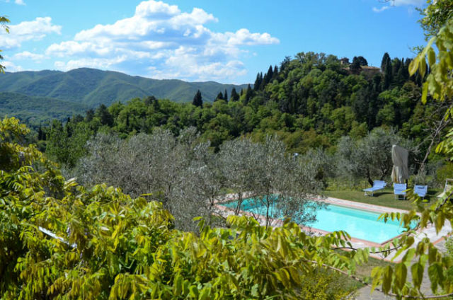 View of the pool and surrounding countryside at Villa Fabbroni, Greve in Chianti, Tuscany.