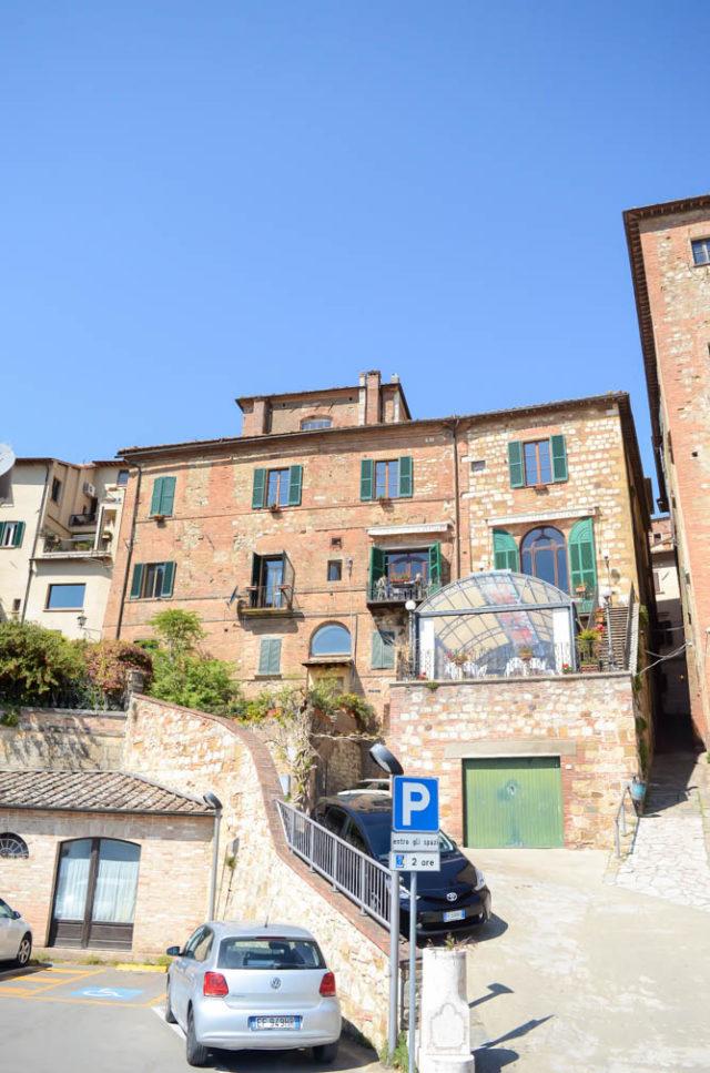 Quaint building facades in Montepulciano.