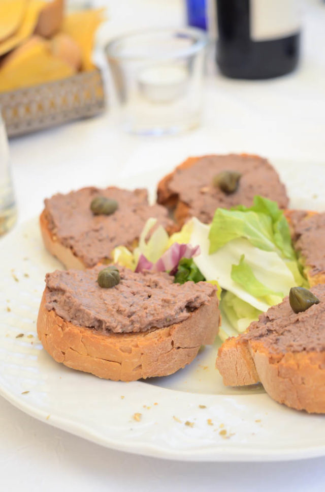 Delicious chicken liver pate toasts from Caffe Poliziano in Montepulciano.